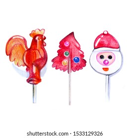 Christmas lollipops, holiday sweets for children, Christmas tree decoration, a set of drawings with colored pencils on paper