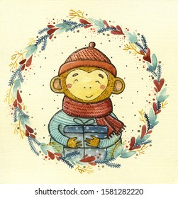 christmas monkey - Watercolor hand drawn illustration of a brown monkey dressed in a hat, a scarf and coat. He holds a girt box.