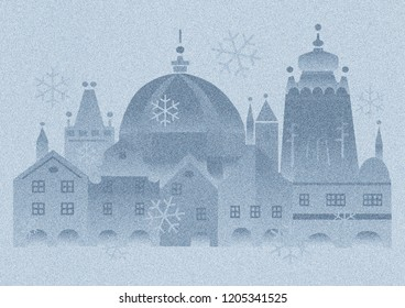 Christmas mood in the historic city,snowfall. Christmas vintage card with the stylized historical bildings from Prague.