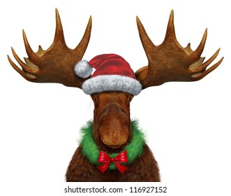 Christmas moose with Santa Clause hat with a holiday wreath and a red silk bow as a seasonal symbol of celebrating the time for giving with a festive funny northern forest animal with huge antlers.