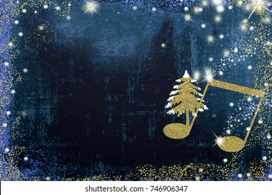 Christmas musical card.Quaver music note  and Christmas tree  golden glitter texture on blue background with copy space