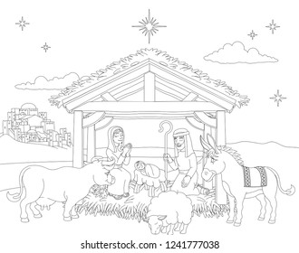 A Christmas nativity coloring scene cartoon, with baby Jesus, Mary and Joseph in the manger with donkey and other animals. The City of Bethlehem and star above. Christian religious illustration.