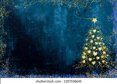 Christmas Nativity greetings cards, fir tree with gold hearts and Star of Bethlehem gold texture on blue  background with copy space.