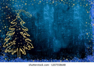 Christmas Nativity greetings cards, fir tree and Star of Bethlehem gold texture on dark blue  background with copy space.