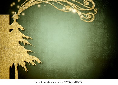 Christmas Nativity greetings cards, Star of Bethlehem and fir tree gold texture on dark green background with copy space.