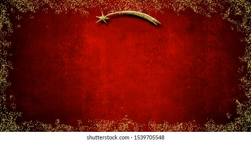 Christmas Nativity greetings cards, Star of Bethlehem and gold texture on blank grunge  red background