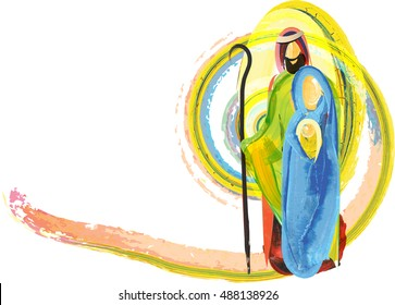 Christmas nativity Holy family of Jesus, Mary and Joseph, abstract artistic watercolor religious illustration background, with copy space for text.