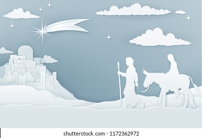 A Christmas Nativity illustration of Mary and Joseph on their journey with shooting star and city of Bethlehem in the background. Vintage paper art style.