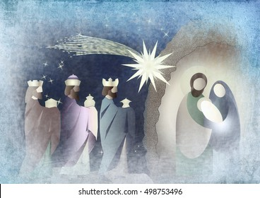 Christmas nativity religious Bethlehem crib scene, with Holy family of Mary, Joseph and baby Jesus and three wise men.holiday background, illustration.