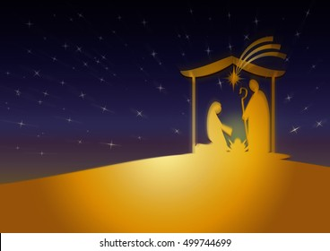 Christmas nativity religious Bethlehem crib scene, with Holy family of Mary, Joseph and baby Jesus in a starry night. Holiday background, illustration.