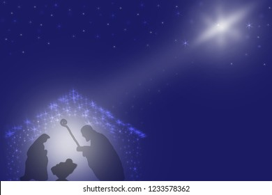 Christmas Nativity scene of baby Jesus in the manger, Mary and Joseph in Bethlehem. Baby Jesus birth.