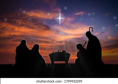 Christmas nativity scene of baby Jesus in the manger with Joseph, Mary and shepherd