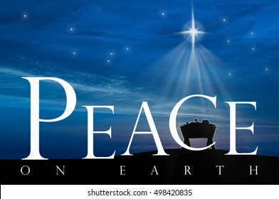 Christmas nativity scene of baby Jesus in the manger, peace on earth