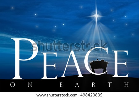 christmas nativity scene of baby jesus in the manger peace on earth