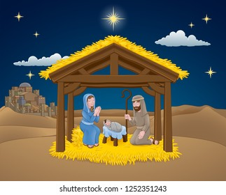 A Christmas nativity scene cartoon, with baby Jesus, Mary and Joseph in the manger. The City of Bethlehem and star above. Christian religious illustration.