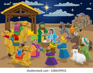 A Christmas nativity scene cartoon, with baby Jesus, Mary and Joseph in the manger with three wise men, shepherd and donkey and other animals. Christian religious illustration.