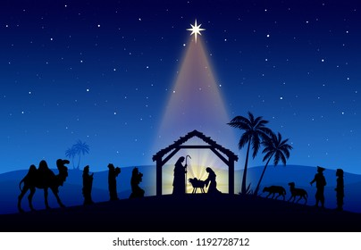 Christmas Nativity scene, with characters in black silhouette on desert setting at night with comet star.