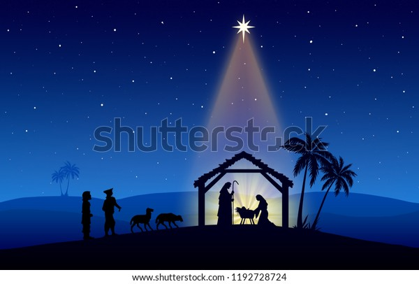 Christmas Nativity Scene.Christmas Nativity Scene Characters Black Silhouette Stock
