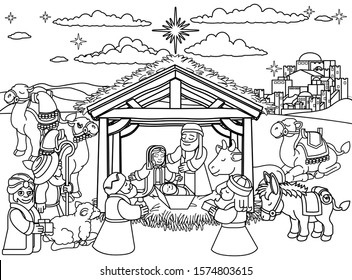 A Christmas nativity scene coloring cartoon, with baby Jesus, Mary and Joseph in the manger with three wise men, shepherd and donkey and other animals. The City of Bethlehem and star above.