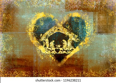Christmas Nativity Scene greetings cards, abstract freehand drawing of Nativity scene and heart with golden glitter, grunge background .