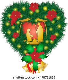 Christmas nativity scene, Holy family Mary Joseph and baby Jesus, abstract holiday illustration, with pine tree holiday wreath in shape of a heart, with poinsettia, lights and decorations.