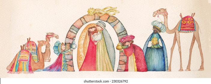 Christmas Nativity scene. Jesus, Mary, Joseph and the Three Wise Men