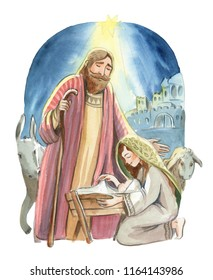 Christmas nativity scene of Joseph and Mary holding baby Jesus, hand drawn watercolor illustration