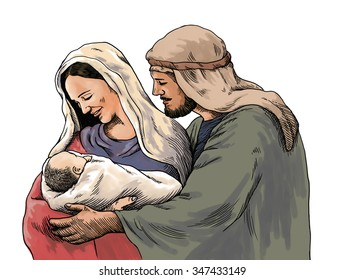 Christmas nativity scene of Joseph and Mary holding baby Jesus, hand drawn illustration, isolated on white background