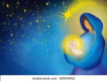 Christmas nativity scene Mother and child, Mary with baby Jesus in a starry night abstract illustration background with copy space for text