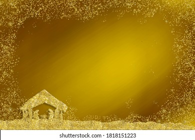 Christmas Nativity Scene, religious greetings cards. Abstract freehand drawing of Nativity Scene with silver glitter on gold  paper background with copy space.3D illustration. Vertical image.