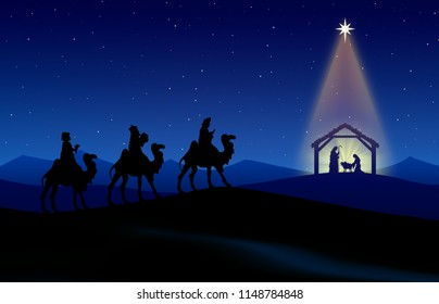 Christmas nativity scene: Three Wise Men go to the manger in the desert