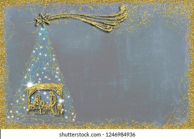 Christmas Nativity Scene and tree greetings cards, abstract freehand drawing of Nativity Scene and  Christmas tree with gold glitter, blue night copy space  background.