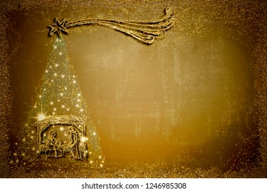 Christmas Nativity Scene and tree greetings cards, abstract freehand drawing of Nativity Scene and  Christmas tree with gold glitter, golden night copy space  background.