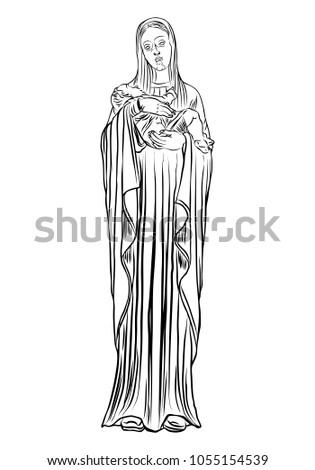 christmas nativity scene virgin mary holding stock illustration