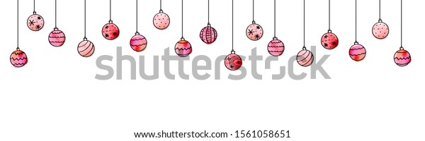 Christmas and New Year background with Hanging watercolor Christmas Balls.