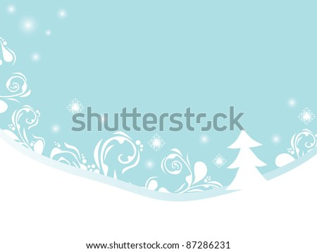 christmas and new year background with snowflakes and floral ornament