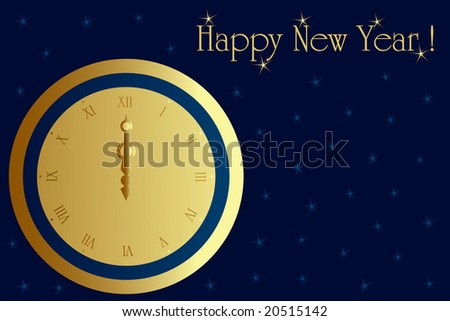 Christmas and new year card with vintage clock at midnight. Photo format