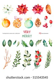 Christmas and New Year collection.This Christmas set with 25 handpainted clipart (leaves,branches,fir-tree,Christmas balls,berries,holly,pinecones,poinsettia).Perfect for Christmas invitations