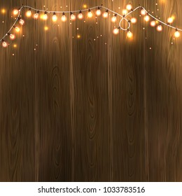 Christmas New Year design: wooden background with christmas lights garland. Raster version illustration.