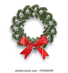 Christmas, New Year. Green spruce branch. Christmas wreath with shadow and snowflakes. Red onions, silver balls and beads on a white background.  illustration