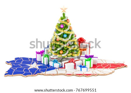 christmas and new year holidays in puerto rico concept 3d rendering isolated on white background - Puerto Rican Christmas Decorations