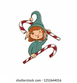 christmas and new year illustrations. christmas and new year illustrations. . Good New Year spirit. Print for gifts and souvenirs. Children's illustration, a kind. Santa's helper. Elf and caramel cand