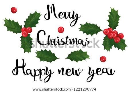 christmas new year lettering small clip art set on white background
