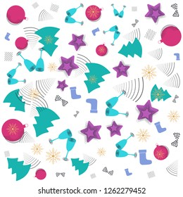 Christmas New year Memphis pattern with bells, candy cane, Christmas balls and abstract geometric shapes in  retro style.  Trendy Modern Poster, Card with Geometric Elements design.
