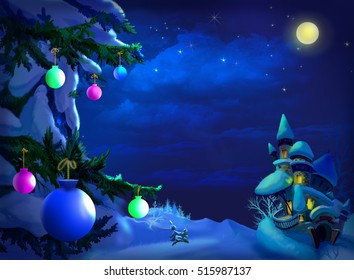 christmas new year postcard with christmas tree and magic castle in a wonderful winter night - Christmas Tale