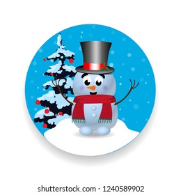 christmas new year round sign icon with cute cartoon character snowman in top hat