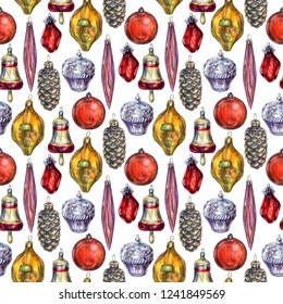 Christmas and new year seamless pattern with red balls, cupcakes, golden bells, cones, crystals and icicles. Vintage glass toys background. Christmas, winter, new year concept. December composition