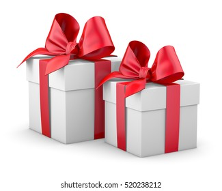 Christmas and New Year's Day , 2 red gift boxes white background 3d rendering