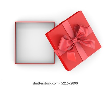 Christmas and New Year's Day ,Open red gift box top view on white background 3d rendering