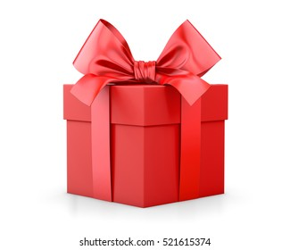 Christmas and New Year's Day , red gift box white background 3d rendering
